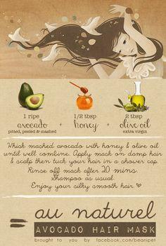 DIY Avocado Hair Mask #natural #beauty #hair #DIY