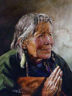 Praying(Partial),,2008,  Transparent watercolor  by Zhou Tianya