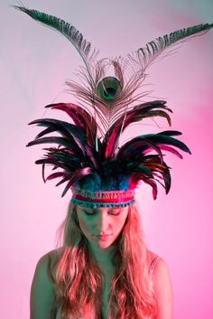 dulcie's feathers, feather headdress, peacock feather, festival, costume, Beth Randall, pink, turquoise