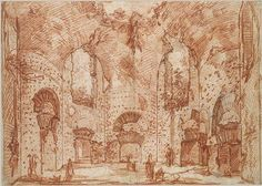 The Octagonal Room in the Small Baths at the Villa of Hadrian (Tivoli): Study for Vedute di Roma, Giovanni Battista Piranesi (1720–1778)  Red chalk over black chalk or charcoal with partly ruled construction; sheet glued onto secondary paper support