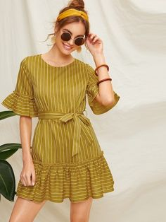 To find out about the Ruffle Hem Self Tie Striped Dress at SHEIN, part of our latest Dresses ready to shop online today! Stylish Dresses, Simple Dresses, Cute Dresses, Casual Dresses, Short Sleeve Dresses, Summer Dresses, Dresses Dresses, Frock Fashion, Fashion Dresses