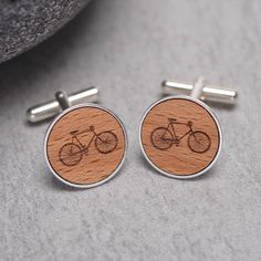 wooden bicycle cufflinks by maria allen boutique | notonthehighstreet.com