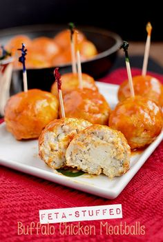 Feta-Stuffed Buffalo Chicken Meatballs Recipe ~ Full of that signature flavor and spice, yet made with low-fat ground chicken and bold seasonings