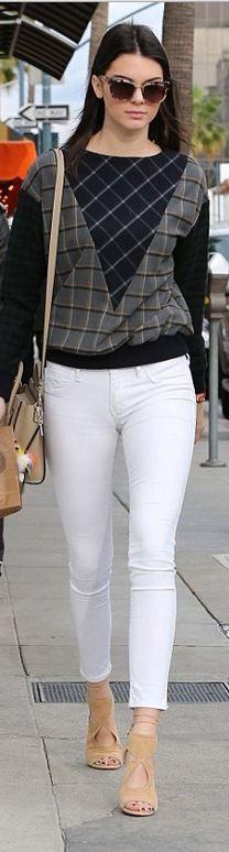 Kendall Jenner: Purse – Celine  Key Chain – Fendi  Shoes – Aquazzura  Sweatshirt – Band of Outsiders