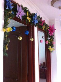 Decoración navideña dos puertas