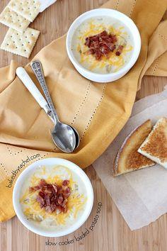 Slow Cooker Loaded Potato Soup from bakedbyrachel.com
