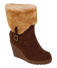 Love this Hickory Suede Flatbush Fold-Over Wedge Boot - Women by BEARPAW on #zulily! #zulilyfinds