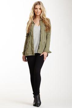 green army jacket + grey tee + black pointe pants + booties