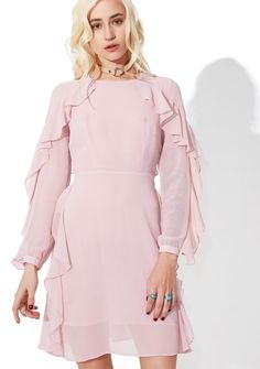 Glamorous From Above Ruffled Mini Dress what did we do to deserve yr presence on this Earth, bb~? This ethereal long sleeved dress features a blush pink chiffon construction, tapered cuffs, ruffles cascading down off the shoulders 'N hips, and open back with tie closure.