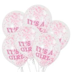 IT'S A GIRL CONFETTI BALLOONS-ONE STOP KIDS PARTY SHOP