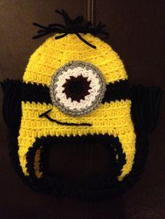 Minion Despicable Me Crochet Baby Newborn Beanie Hat...@Amber Hutchens..so cute!