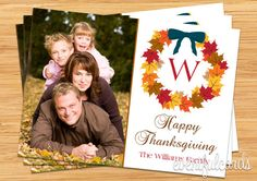 Thanksgiving Card Monogram Photo Card - Printable #Thanksgiving #photo