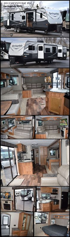 This spacious 2017 Springdale 38FL travel trailer by Keystone RV offers many of the comforts of home featuring a front living area with an L-shaped sofa, TV/entertainment center with fireplace below and a large kitchen that has all you need to prepare and cook for your hungry crew while camping.