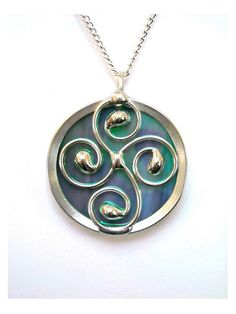 Stained Glass Pendant Necklace Celtic Spiral by JasGlassArt, $22.00