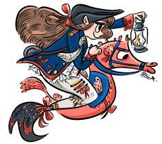 American Revolution Mermaid Character Design (mermay) - by Ellie Morlino, @elliemation, www.instagram.com/elliemation