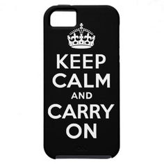 Black Keep Calm and Carry On Case-Mate Case iPhone 5 Cases