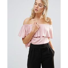 Neon Rose Frill Bardot Top (57 BRL) ❤ liked on Polyvore featuring tops, pink, off-the-shoulder ruffle tops, cut-out crop tops, pink off the shoulder top, flounce crop top and neon pink top