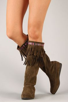 Sora-Suede Fringe Boot -- Size: 7, Color: Dark Taupe
