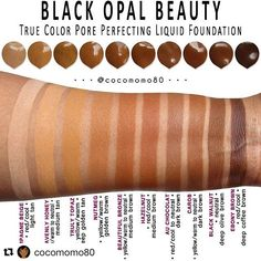 This is so useful since I rarely see Black Opal products! I should either be Hazelnut or Au Chocolat. #Repost @cocomomo80 (via @repostapp) Black Opal True Color Pore Perfecting Liquid Foundation Swatches (on dark skin) My Collection EDIT: Thank you to Black Opal for pointing out some of my incorrect undertones. I dont want anyone to be ill-informed. The correct information is: HEAVENLY HONEY (tan shade with a reddish tone) BEAUTIFUL BRONZE (medium brown with a reddish tone) and HAZELNUT (...