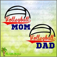Volleyball Mom Dad Split Design Full Color Digital File Jpeg Png SVG EPS DXF Instant Download - pinned by pin4etsy.com