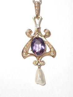 Art Nouveau Style Circa 1920's Amethyst Pearl & Diamond Pendant Necklace by Maisonette de Madness: