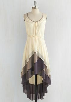 Cheers for Tiers Dress - Cream, Purple, Tan / Cream, Solid, Tiered, Daytime Party, High-Low Hem, Spaghetti Straps, Scoop, Mid-length, Chiffon, Woven