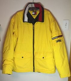Tommy Hilfiger Vintage 90s Yellow Puffer Insulated Jacket Coat XL