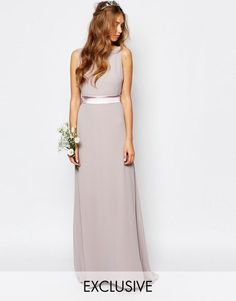 Buy TFNC Petite WEDDING Sateen Bow Back Maxi Dress at ASOS. With free delivery and return options (Ts&Cs apply), online shopping has never been so easy. Winter Bridesmaid Dresses, Prom Dresses, Wedding Dresses, Bridesmaid Ideas, Bridesmaids, Wedding Attire, Lilac Wedding, Wedding Flowers, Vestidos