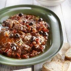 Mediterraan draadjesvlees - Boodschappen Multicooker, Stew, Crockpot, Slow Cooker, Chili, Oatmeal, Good Food, Food And Drink, Meat