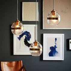 Banded Glass Chandelier - 3-Light #westelm kitchen table?