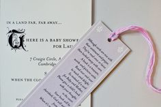 Baby shower invitation idea. Bring a book instead of a card (with sentiments written on the cover), on the card of the invitation.