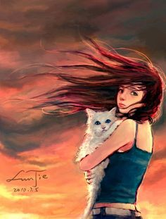 Love the hair blowing in the wind an the fact that it's red...I'd like to think its me