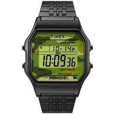 Timex '80' Digital Bracelet Watch, 34Mm (175 BRL) ❤ liked on Polyvore featuring jewelry, watches, alarm watches, retro digital watch, digital watches, timex and digital wrist watch