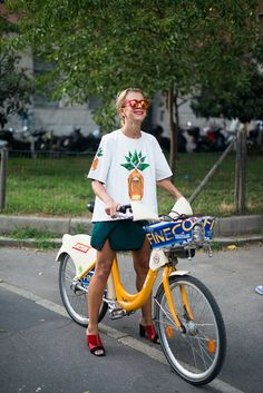 natalie joos, Andrea Ruggeri, milan fashion week, spring summer 2014, street style, milan bike share, fashion week, mfw, ss14, milan, olmo b...