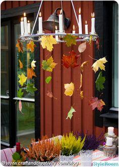 höstlov,löv,höst ljuskrona,dukning,bordsdukning,dekoration,ljuskrona,pyssel,höst