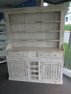 Painted Country French Farm Hutch/cupboard W Wine Rack