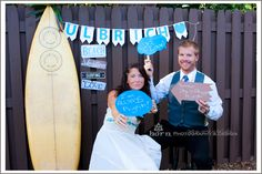 DIY Beach Wedding Guest Props  DIY comment bubbles with DIY chalkboard paint in the wedding colors.  photo by Horn Photography & Design