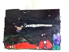 Miniature Landscape Collages-magazines were used for both colors/shapes and phrases, paint was added as well.
