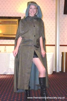 Hooded rubber-lined cape  at Mackintosh Society Party