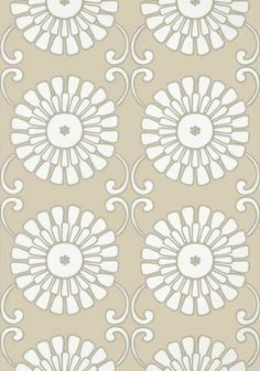 Sun Garden #wallpaper and coordinating embroidered #fabric in Natural from the Resort Collection by #Thibaut