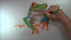 Desenho de sapo no galho. Speed Drawing frog