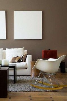 brown walls - maybe Brown Interior, Interior And Exterior, Interior Design, Eames Rocking Chair, Bedroom Comforter Sets, Piano Room, Brown Walls, Living Styles, Wall Colors