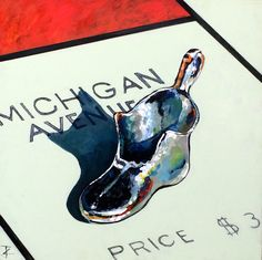 www.codagallery.com | Michigan Ave Shoe by Kathleen Keifer | Acrylic on Canvas #monopoly #boardgames #fineart