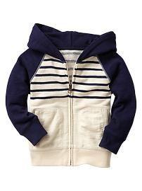 Slub baseball stripe hoodie