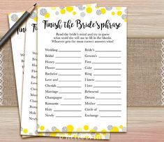 Finish the Bride's Phrase - Printable Yellow Grey Bridal Shower Game - Bridal Shower Party Games - Bachelorette Night Games - Hen Party 008