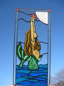 For the upstairs hall bath mermaid faux stained glass for Scheper custom homes