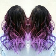 Purple ombre hair color with natural waves, new purple hair dye choice for dark hair girls(from HOT Beauty Magazine)