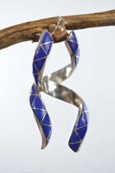 Native American Earrings Blue Spiral Sterling Silver Inlaid Lapis Lazuli Stone