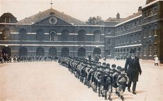 Boys marching out of the London Foundling Hospital for the last time, Both the composer George Frideric Handel and the artist William Hogarth were governors of the home. Victorian London, Vintage London, Old London, London History, British History, Liverpool History, Uk History, Medical History, History Photos