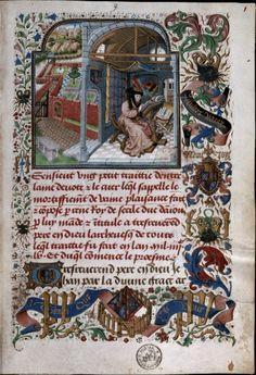 Wapen, embleem en wapenspreuken van Filips de Goede en Isabella van Portugal (ca. 1455-1458) René van Anjou, Mortifiement de vaine Plaisance Jan De Tavernier, Zuidelijke Nederlanden, ca. 1460-1465. Brussel, KBR, ms. 10308, f. 1r